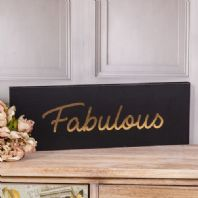 'Fabulous' - Black and Gold Wooden Wall Plaque
